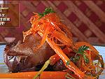 イベリコ豚ロースのにんじんとオレンジ添え甘酢ソース料理レシピ