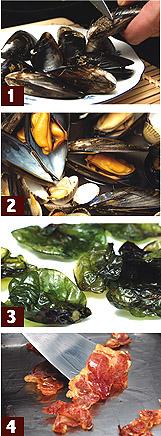 ムール貝、ベルベレチョスとハモン・イベリコのサラダ 料理レシピ