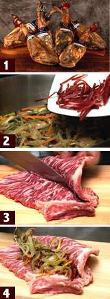 イベリコ豚セクレト ハモン・イベリコ、きのこと野菜の詰め物料理レシピ